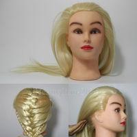"Blonde Hair 22"" 40% Real Human Hair Training Head School Teaching Mannequin + Free Table Clamp"