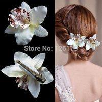Free Ship 2Pcs Fashion Wedding Bridal Flower Orchid Leopard Hair Clip Brooch Pin Barrette Hair Dress With Box