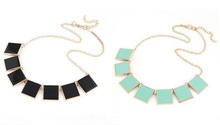 Hot-selling vintage short Square drip glaze geometric choker necklace for women fashion jewelry  Wholesale 4N0327