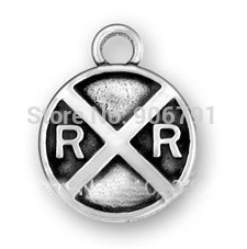 Free shipping 100 pcs a lot new design fashion railroad crossing sign anti-silver plated charms(China (Mainland))
