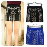 Women's Skirt Vintage Rivet High Waist Elastic Cotton Mini Pencil S M L Black Blue