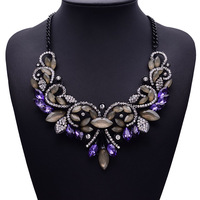 2015 New Big luxury Gems Pendant Necklace Short Clavicle Exaggerated Necklace Jewelry Wholesale 4065