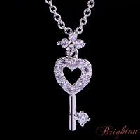 Fashion Romantic Jewelry Shiny Gold Plated Heart Shaped Key Pendant Korea Style Bling Crystal Charm Women Necklace