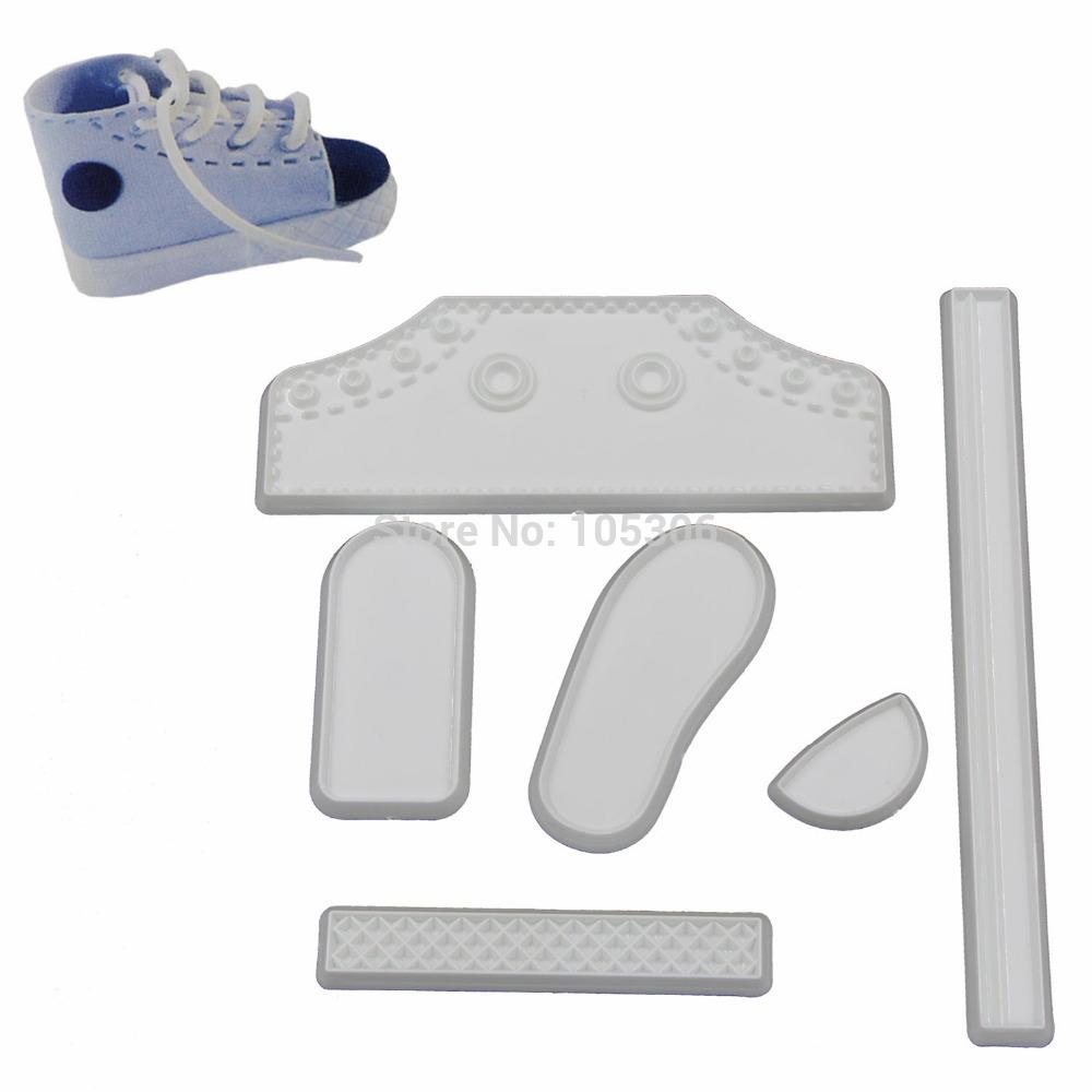 DIY 6PCS/SET Plastic Fondant Life Size Baby High Cut Sneaker Baking Cutter Cake Mold Bebe Shoe Decorating Tools For Cakes(China (Mainland))