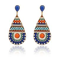 Fashion vintage Drop earrings bohemian style drop-shaped Hollow blue Resin big earring for women jewelry wholesale ER-013505