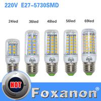 Foxanon brand E27 LED Light 220V 5730 SMD Corn Bulb 3W 5W 7W 11W 12W 15W 18W Lamps With CE ROHS Christmas Chandelier Lighting