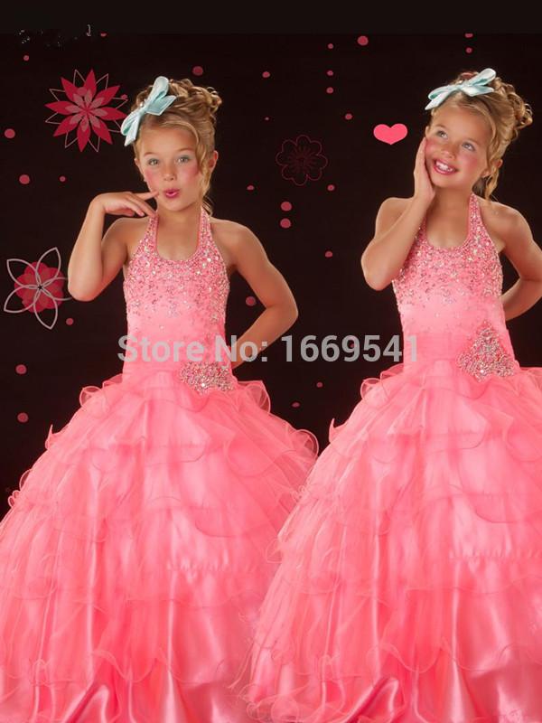 2015 Ceremony Flower Girls' Dresses Graduation Hater Coral Bead Ruffles Princess Pageant Dresses Girls(China (Mainland))