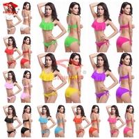 Fashion Flounced Top Halters Cheap Removable Push up Bikinis 11Colors