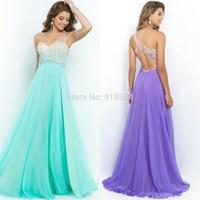 Coral Pink Sea Glass Violet Prom Dress 2015 New One Shoulder Party Gown vestido de festa