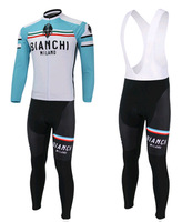Can mix size+Summer/Autumn+Free shipping+white 2014 BIANCHI Bib long sleeve cycling jersey pants bicycle ridding wear clothes