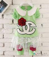 2015 Spring flowers fashion children suit, girl lotus leaf collar long-sleeved t-shirt + pants piece 1014