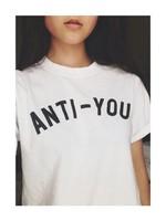 Womens Tops Fashon 2015 ANTI-YOU Letter Print Funny Shirts Short Sleeve Plain White T Shirt Couple Clothes S-3XL