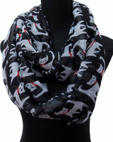 Oversize Cute Cat with Bowknot Print Animal Loop Infinity Cowl Scarf Scarves, Free Shipping