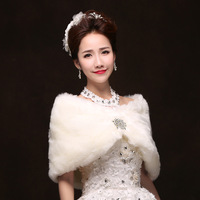 1pcs/lot free shipping faux fur shawl wrap formal dress cheongsam outerwear bride cape white autumn scarf fashion pashmina