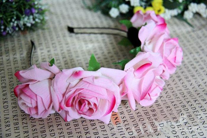 20152014 new bride bridesmaid rosette flower garland headband photo studio props headdress pictures(China (Mainland))
