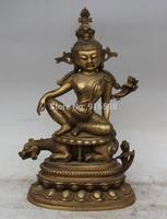 """12"""" Chinese Buddhism Brass Seat Beast Kwan-yin Guan Yin Boddhisattva Statue"""