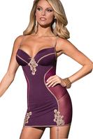 Babydoll Sexy Lingerie Hot Women Erotic Costumes Underwear Pajamas Lady Purple Sleepwear Nightdress Slim Nightwear