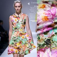 DIY 2015 Beautiful Flower Digital Print Stretch Silk(93%) Satin Fabric 19Mommie  118CM*100CM