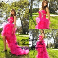 2015 New Arrival Sweetheart Appliques Ruffles Prom Dresses Front Short Long Back Party Dress