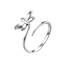 new fashion 925 sterling silver rings lovely Dragonfly rings opening rings for women 2015 vintage wedding ring