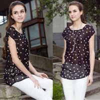2015 Hot Sale Casual Summer Women O-Neck Plus Size Shirt Blouses Polka Dot Chemise Femme Blusas Chiffon Blouse female clothes