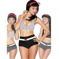 2015 Sexy Womens High Waist Wave Point Casual Retro Bikini Bathing swim Suit Swimwear for women