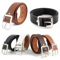 Men' Faux Leather Belt Boy Casual Alloy Buckle Belts Waistband Strap
