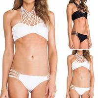 2015 New Style women swim-suit  Sexy Womens Nets Halter Bandage Bikini Set Push-up Padded Bra Swimsuit Swimwear