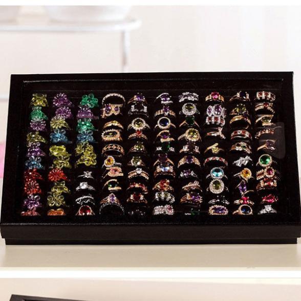New Jewelry Ring Display Tray Black Velvet Pad Box 100 Slot Insert Holder Case Ring Storage Ear Pin Display Box Organizer earing(China (Mainland))