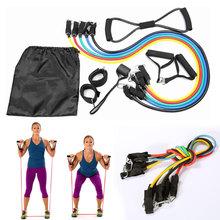 9 Pcs / set  45Pound Pull Rope  Yoga Resistance Exercise Gym Fitness Latex Tubes Workout Bands Elastic Training Rope