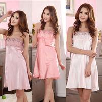 Women Faux Silk Gallus Sleevess Summer Sleepwear Nightgown Braces Dress Pajamas