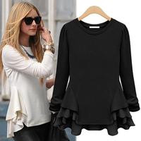 Autumn Women T-Shirt European American Casual Patchwork Hem Full Sleeve Asymmetrical T-Shirt Plus Size Feminino Roupas 168
