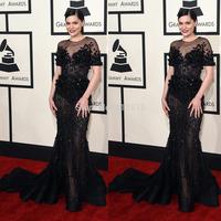 2015 57th Grammy Celebrity Dresses Mermaid Sheer O Neck Appliqued Short Sleeve Beaded Long Jessie J Red Carpet Evening Gowns