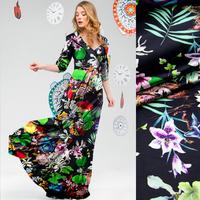New Plant&Flower Digital Print Stretch Silk(93%) Satin Fabric 19Mommie  118CM*100CM
