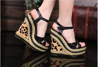 Free Shipping Small Size 34 35 40 Women Platforms Peep Toe Sandles Girl Buckle Wedges Genuine Leather Pumps Ultra High Heel Shoe