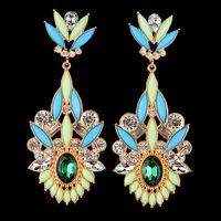 Fashion statement luxury crystal Drop earrings European style drop-shaped green long earring for women jewelry ER-016053