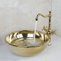Paint Bowl Sinks / Vessel Basins With Washbasin Ceramic Basin Sink & Polished Golden Faucet Tap Set 46029836