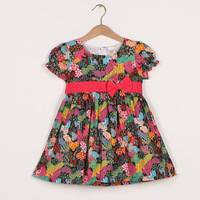 6pcs/lot baby & kids girl fashion new 2015 summer floral print princess party dresses children cotton tropical casual dress
