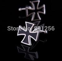 Free shipping Cross Cufflinks black blue color cross design hotsale copper material cufflinks whoelsale&retail