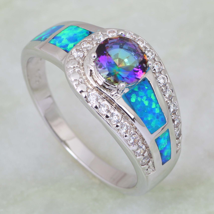 Latest Design best gift Fashion rings for women Blue Rainbow Mystic Topaz Opal 925 Stamp Sterling