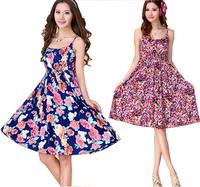 Women Dress 2015 New Bohemian Floral Spaghetti Strap Dress High Waist Slim Bottoming Dresses Beach Vestidos Plus Size S-XXXL