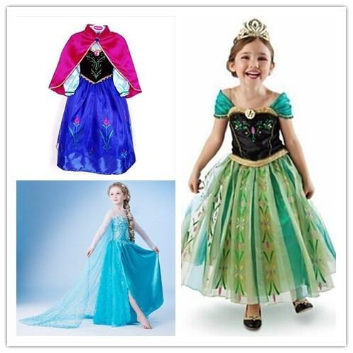 Retail 2015 New girl summer dress girls children clothing Elsa Anna Dress Girl's Princess Dresses Brithday wedding party costume(China (Mainland))