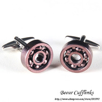 Men Cufflinks, Round Purple Bearing Cufflinks KL1040