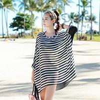 2015 Women Blouses Stripes Sexy Gauze Spring Summer Shirt Blusas Femininas Casual Loose Beach O Neck Shirt Tops PH3019