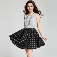 Korean Fashion Women Dress 2015 Waist O-neck Printing Vest Dresses Casual Patchwork Women Summer Dress Hot Sale Female Clothing