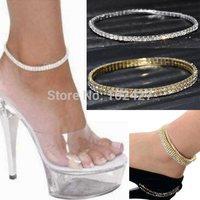 2pc Clear Crystal Tennis Silver Gold Stretch Anklet Foot Chain Leg Bracelet Rhinestone Ankle Anklet Bracelet pulseras tobilleras