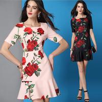 2015 Summer Runway Fashion Designer Dress Women's Short Sleeves Square Collar Cute Red Rose Print Mermaid Dress