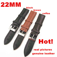 Wholesale High quality 50PCS/lot 22MM genuine leather watch band watch strap watch parts-black ,brown,coffee color-0201107
