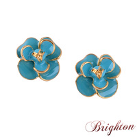 2015 New Design Colorful Flower Shape Gold Plated Alloy Enameled High Quality Romantic Cute Stud Earrings Jewelry for Women Girl