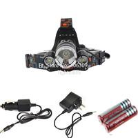 Boruit RJ-5000 cree led Headlight 3XCree XM-L L2 LED 5000LM led Headlamp light+AC Charger+2x18650 battery+Car Charger+USB Cable